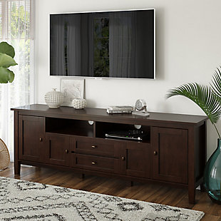 """Solid Wood 72"""" Rustic TV Stand, Brown, rollover"""