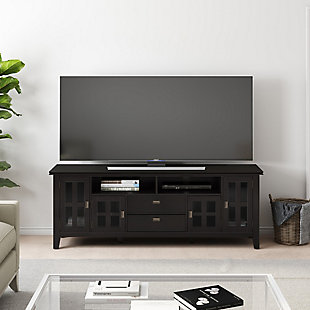 "Artisan Solid Wood 72"" Contemporary TV Stand, Dark Brown, rollover"
