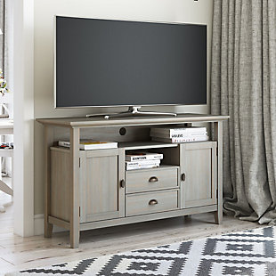 "Redmond Solid Wood 54"" Rustic TV Stand, Gray, rollover"