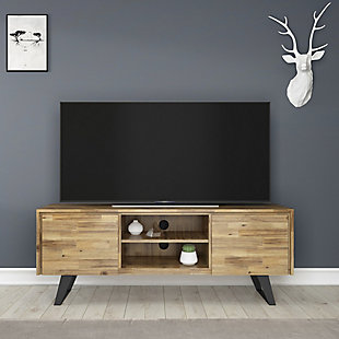 """Lowry 63"""" Modern TV Stand, Light Brown, rollover"""