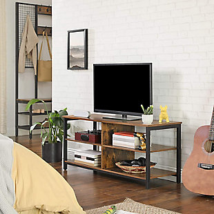 Rustic TV Stand with 4 Shelves, , rollover