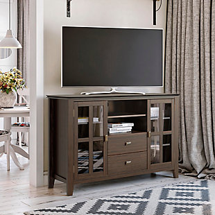 Artisan Solid Wood 53 inch Wide Contemporary TV Media Stand in Farmhouse Brown For TVs up to 55 inches, , rollover