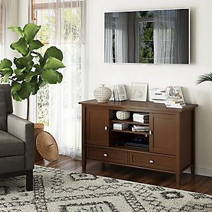 Warm Shaker Solid Wood 47 inch Wide Rustic TV Media Stand in Russet Brown For TVs up to 50 inches, , rollover