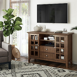 Acadian Solid Wood 53 inch Wide Rustic TV Media Stand in Rustic Natural Aged Brown For TVs up to 55 inches, , rollover