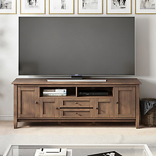 Warm Shaker Solid Wood 72 inch Wide Rustic TV Media Stand in Rustic Natural Aged Brown For TVs up to 80 inches, , rollover