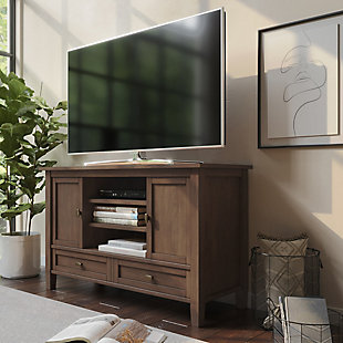Warm Shaker Solid Wood 47 inch Wide Rustic TV Media Stand in Rustic Natural Aged Brown For TVs up to 50 inches, Rustic Brown, rollover