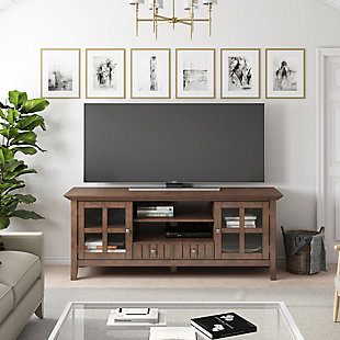 Acadian Solid Wood 60 inch Wide Rustic TV Media Stand in Rustic Natural Aged Brown For TVs up to 65 inches, , rollover
