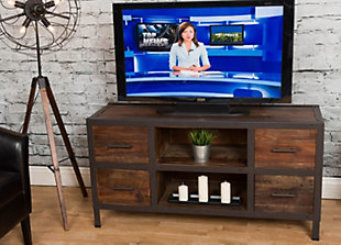 Reese  Reclaimed Wood 4 Drawer TV Stand, , rollover