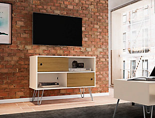 """Manhattan Comfort Baxter 35.43"""" TV Stand in Off White and Cinnamon, White/Brown, rollover"""