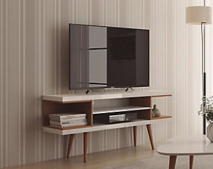 Manhattan Comfort Utopia 53.14 TV Stand in Off White and Maple Cream, White/Brown, rollover