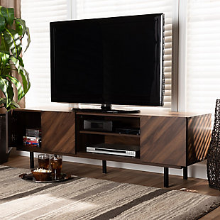 Berit Walnut Brown Finished Wood TV Stand, , rollover