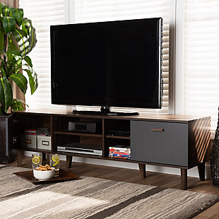 Moina Two-Tone Walnut Brown and Gray Finished Wood TV Stand, , rollover