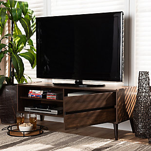 Suli Walnut Brown Finished Wood TV Stand, , rollover