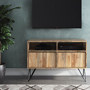 """Simpli Home Hunter Solid Mango Wood 42"""" Wide Industrial Contemporary TV Media Stand, , rollover"""