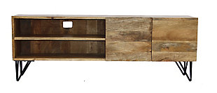 The Urban Port Industrial Style Wood and Metal TV Stand With Storage, , rollover