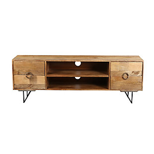 """The Urban Port 63"""" Mango Wood TV Cabinet with Spacious Storage, , large"""