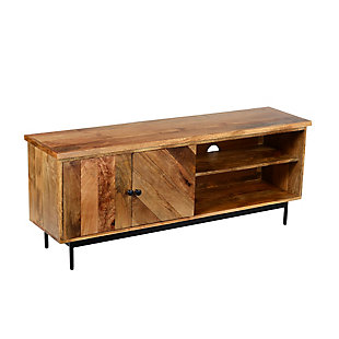 """The Urban Port 55"""" Mango Wood TV Stand with 2 Open Compartments, , rollover"""