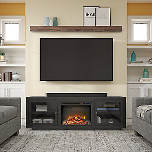 "Ameriwood Emilia Fireplace TV Stand for TVs up to 75"", Nightfall Oak, rollover"