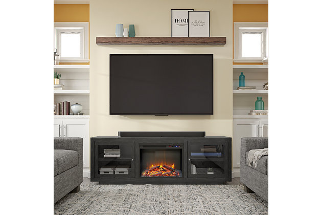 "Ameriwood Emilia Fireplace TV Stand for TVs up to 75"", Nightfall Oak, large"