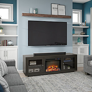 """Ameriwood Emilia Fireplace TV Stand for TVs up to 75"""", Espresso, large"""