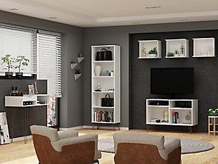 Manhattan Comfort Rockefeller 6-Piece TV Stand Living Room Set in White, White, rollover