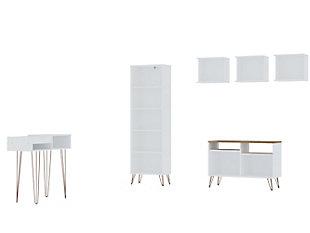 Manhattan Comfort Rockefeller 6-Piece TV Stand Living Room Set in White, White, large