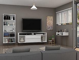 Manhattan Comfort Rockefeller 3-Piece TV Stand Living Room Set in White, White, rollover