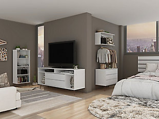 Manhattan Comfort Rockefeller 4-Piece TV Stand Living Room Set in White, White, rollover