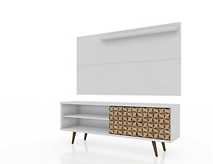Manhattan Comfort Liberty 62.99 TV Stand and Panel in White, White, large