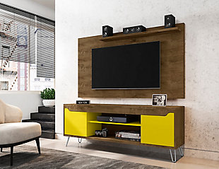 Manhattan Comfort Baxter 62.99 TV Stand and Liberty Panel-Cinnamon/Off White, Brown, rollover