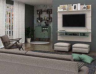 Manhattan Comfort Tribeca 62.99 Floating Entertainment Center-Off White/Nature, White, rollover
