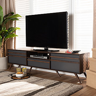 Naoki Two-Tone Gray and Walnut Finished Wood TV Stand, , rollover