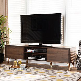 Landen Walnut Brown and Gold Finished Wood TV Stand, , rollover