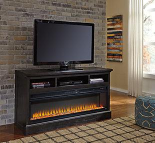 Add a touch of warmth and create beautiful ambiance for your TV viewing pleasure with this wide fireplace insert. Available as an addition on select TV stands and entertainment centers
