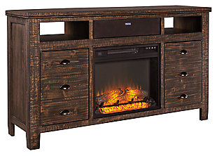 "Trudell 62"" TV Stand with Fireplace and Wireless Pairing Speaker, , large"