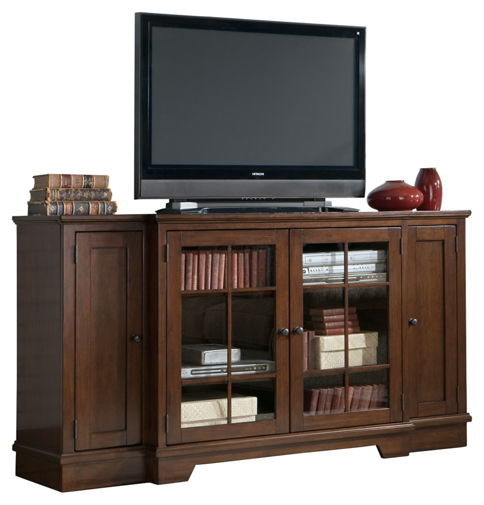 Extra Large Brown TV Stand That Is Tall With Glass Doors And Side Storage  Areas