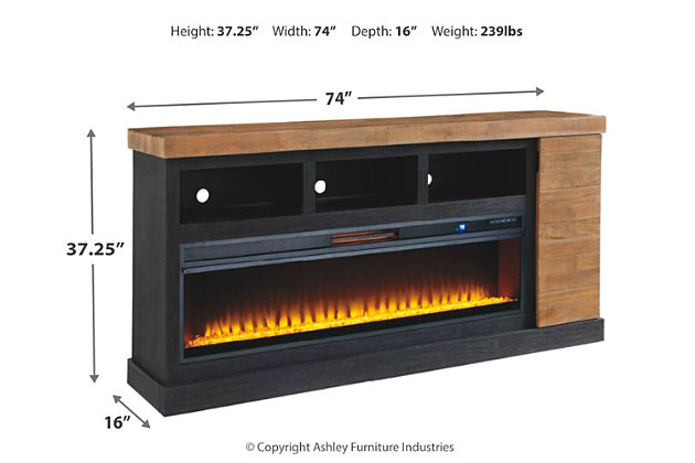 """Tonnari 74"""" TV Stand with Electric Fireplace, , large"""
