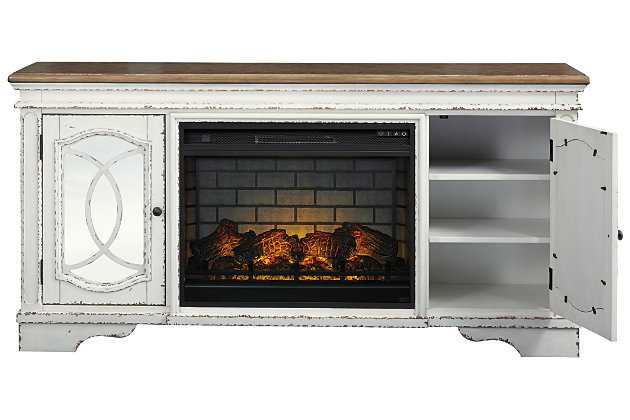 Realyn 74 Tv Stand With Electric, Ashley Furniture Electric Fireplace