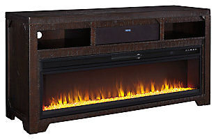 Rogness TV Stand with Fireplace and Wireless Pairing Speaker, , large