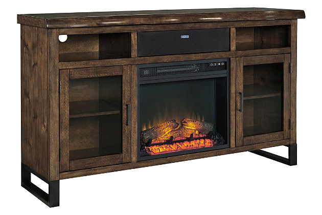 "Esmarina 62"" TV Stand with Fireplace and Wireless Pairing Speaker, , large"