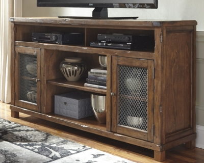 "Ashley Tamonie 72"" TV Stand, Rustic Brown"