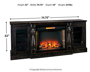 "Mallacar 75"" TV Stand with Electric Fireplace, , large"